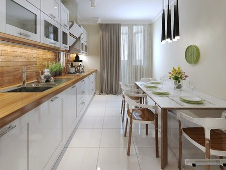 床は清潔感のある白いタイル、壁は温かみのある木目調タイルのキッチンイメージ